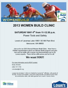 Women Build Clinic flyer