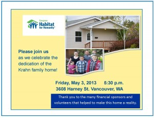 Krahn family dedication flyer